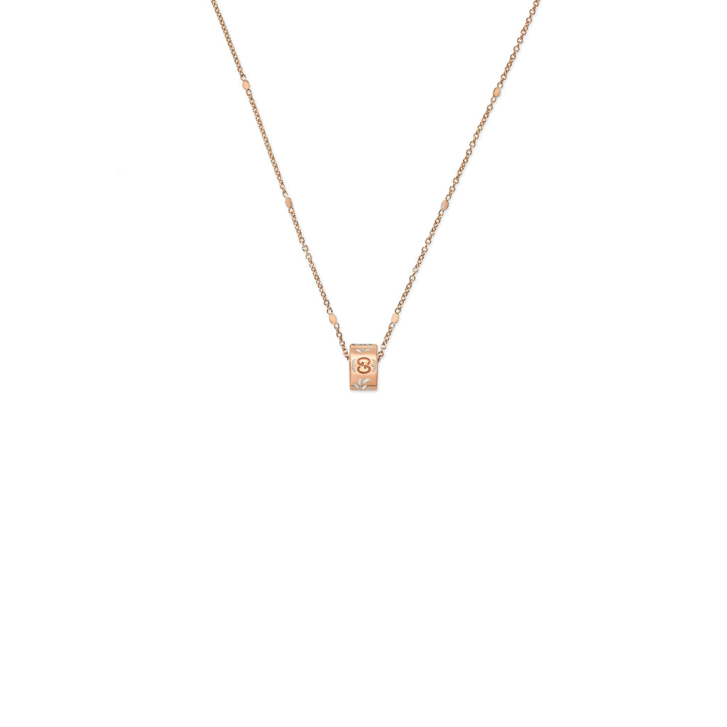 Icon Blooms Necklace in 18kt Pink Gold with White Enamel