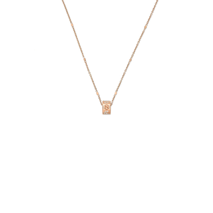 Icon Blooms Necklace in 18k Pink Gold with White Enamel