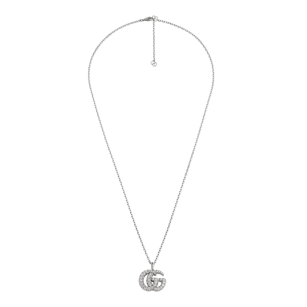 GG Running Necklace in 18kt White Gold with Diamonds