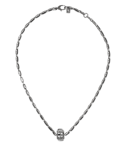 G Cube Necklace in Aged Sterling Silver with Crystals