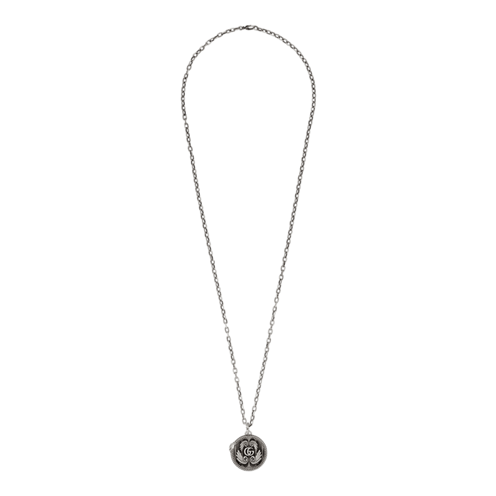 GG Marmont Necklace in Aged Sterling Silver with