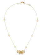Gucci Le Marché des Merveilles Butterfly Necklace in 18k Yellow Gold with Diamonds