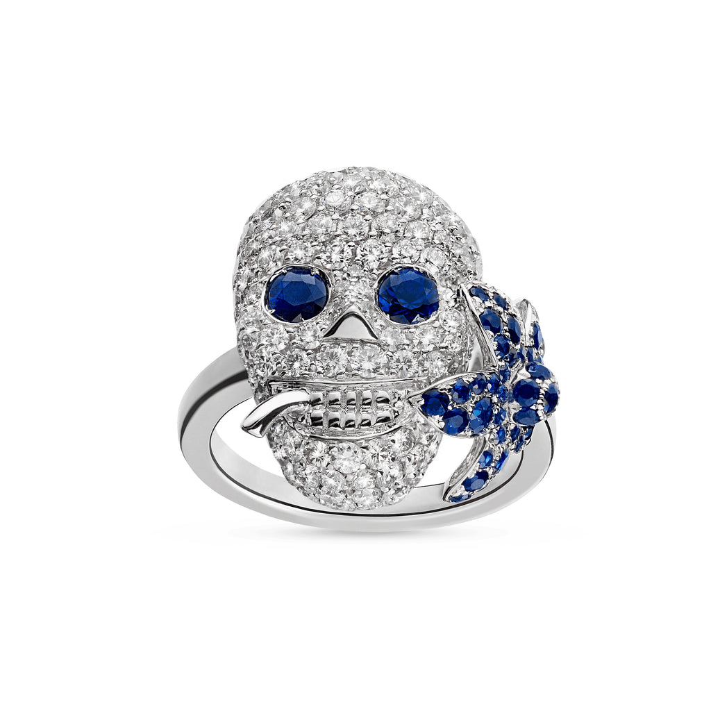 Gucci Flora Ring in 18kt White Gold with Diamonds and Blue sapphires