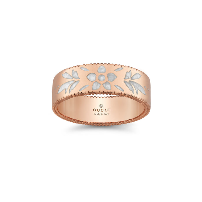 Icon Blooms Ring in 18kt Rose Gold with White Enamel