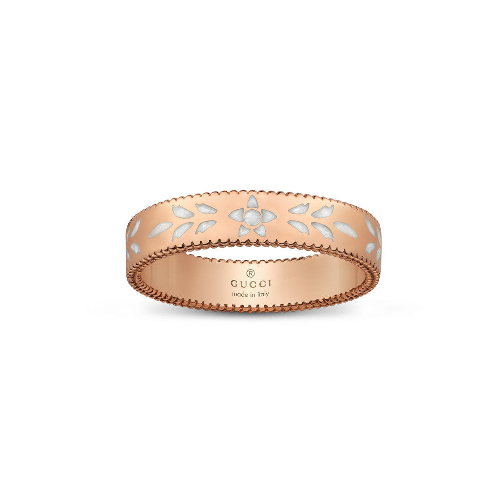 Icon Blooms Thin Ring in 18kt Pink Gold with White Enamel