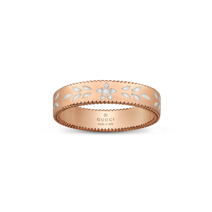 Icon Blooms Thin Ring in 18k Pink Gold with White Enamel
