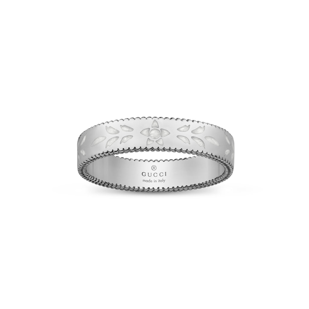 Icon Blooms Thin Ring in 18kt White Gold with White Enamel