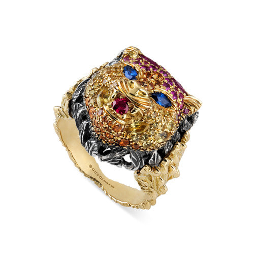 LE MARCHE' DES MERVEILLES 18kt yellow gold, aged silver , ruby, blue, red, orange, pink and yellow topaz