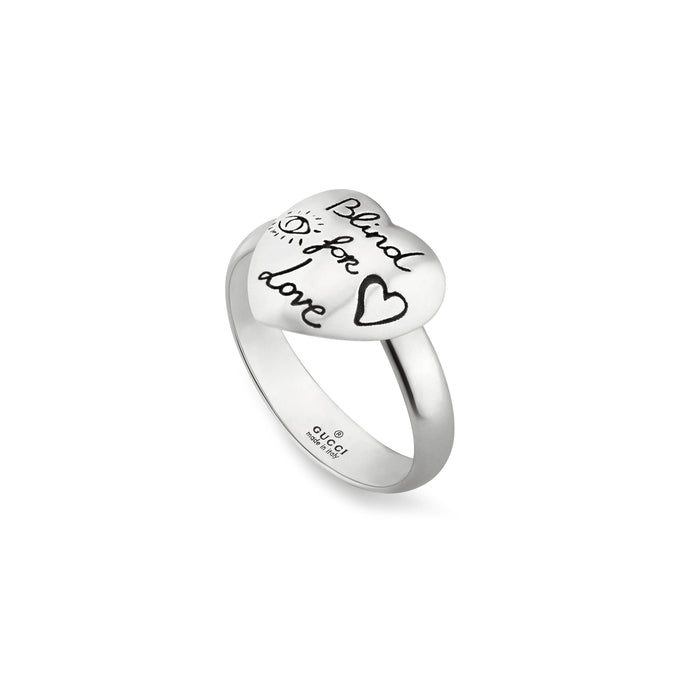 Blind for Love Ring in Shiny Aged Sterling Silver