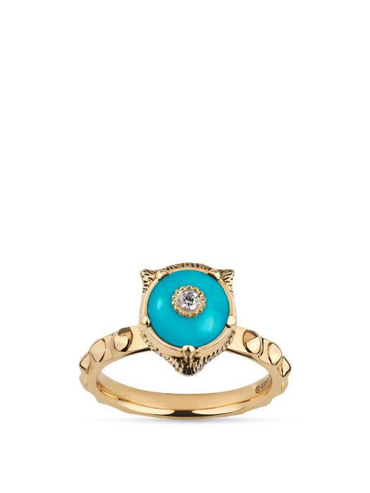 Le Marché des Merveilles Ring in 18k Yellow Gold with Turquoise and Diamonds