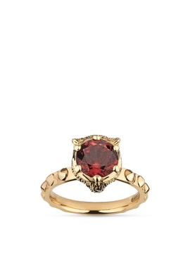 Gucci Le Marché des Merveilles Ring in 18k Yellow Gold with Pink Tourmaline and Diamonds