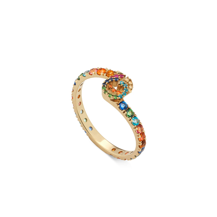GG Running Ring in 18kt Yellow Gold with Coloured Gemstones