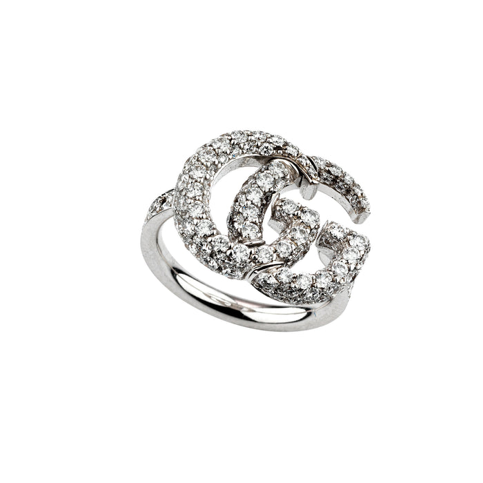 ef79cbec2f2 GG Running Ring in 18kt White Gold and Diamonds