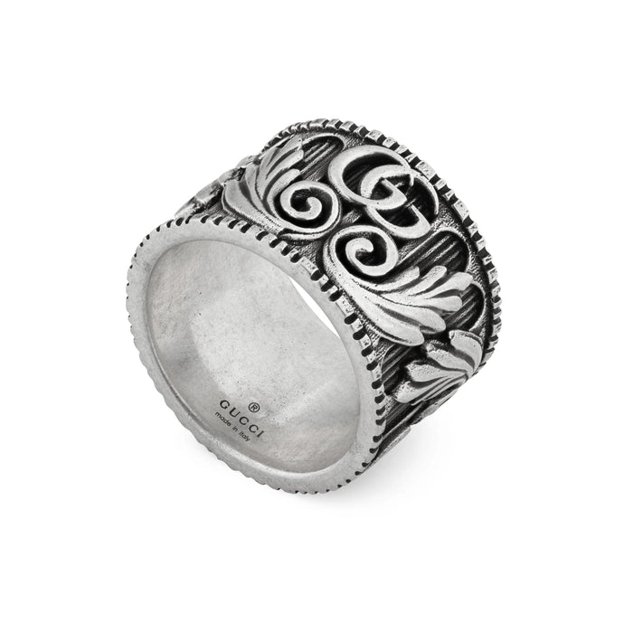 GG Marmont Ring in Aged Sterling Silver