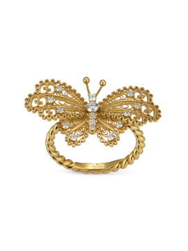 Gucci Le Marché des Merveilles Butterfly Ring in 18k Yellow Gold with Diamonds