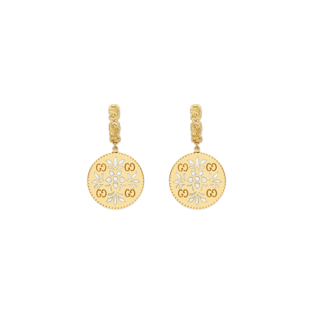 Icon Bloom Earrings in 18kt Yellow Gold with White Enamel