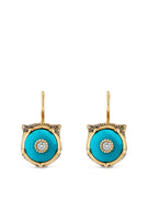 Le Marché des Merveilles Earrings in 18k Yellow Gold with Turquoise and Diamonds