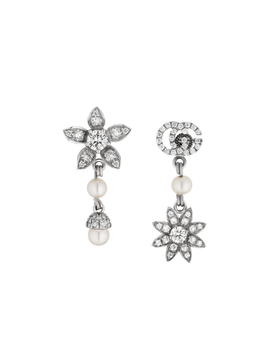 Flora Earrings in 18k White Gold with Diamonds and Pearls
