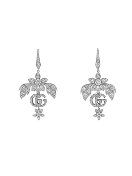 Flora Earrings in 18k White Gold with Diamonds