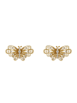 Le Marché des Merveilles Butterfly Earrings in 18k Yellow Gold with Diamonds