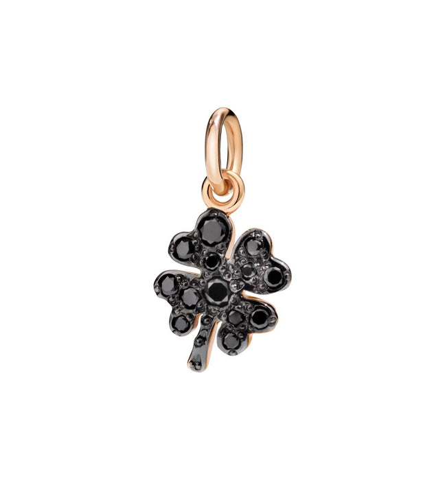 DoDo Four Leaf Clover in 9k Rose Gold with Black Diamonds