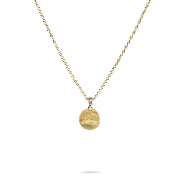 Delicati Africa Single 18k Gold Ball & Diamond Necklace