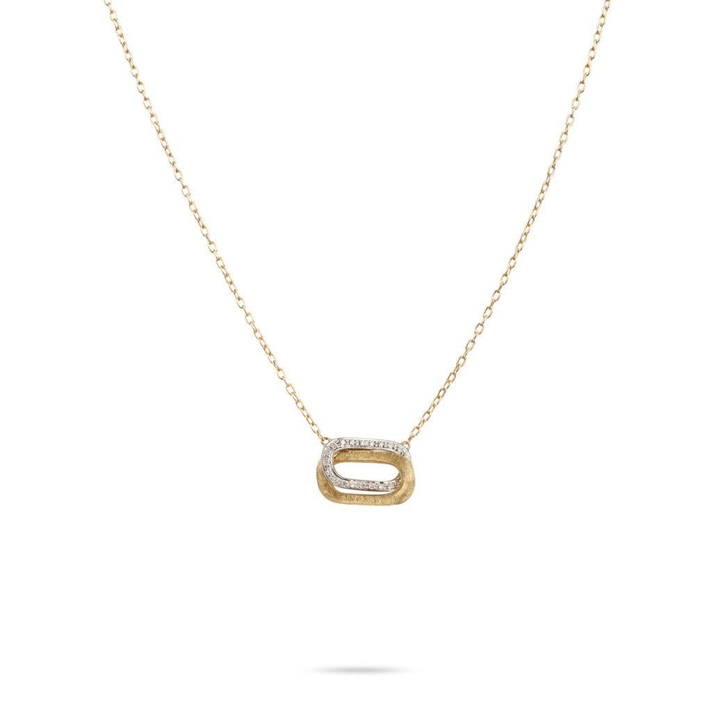 Delicati Murano Link Horizontal Crossover Diamond Necklace