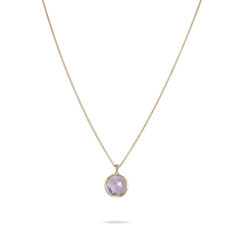 Delicati Jaipur Single Amethyst Gemstone & Diamond Necklace