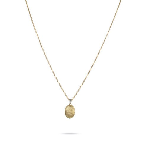 Delicati Siviglia Single 18k Gold Ball & Diamond Necklace