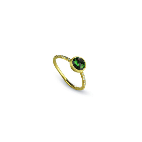 Jaipur 18k Gold Green Tourmaline Gemstone & Diamond Ring