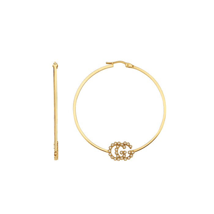 GG Running  Hoop Earrings in 18k Yellow Gold with Diamonds