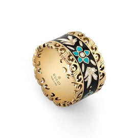 Gucci Icon Blooms Ring in 18k Yellow Gold with Blue, Black and White Enamel