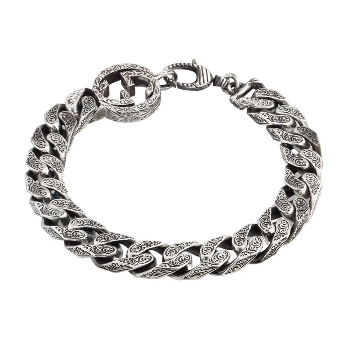Interlocking G Bracelet in Aged Sterling Silver