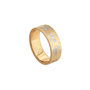 Gucci Icon Blooms Ring in 18k Yellow Gold with White Enamel