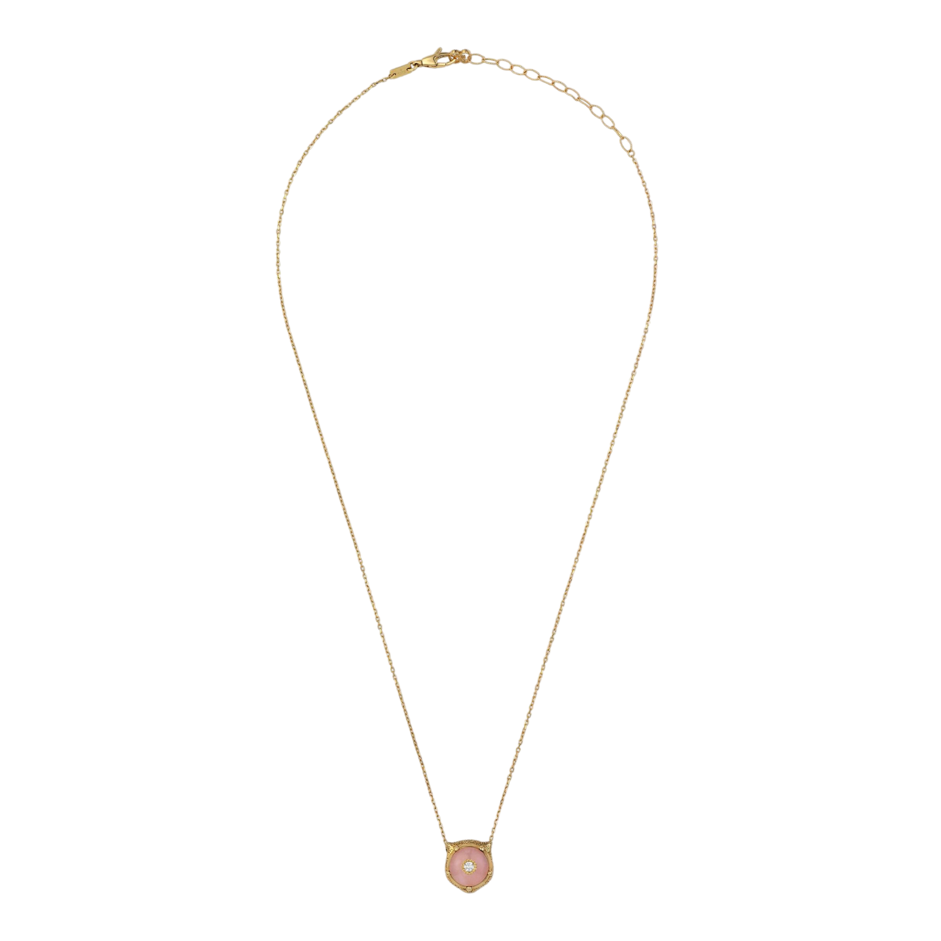 Le Marché des Merveilles Necklace in 18k Yellow Gold with Pink Opal and Diamonds - Orsini Jewellers NZ