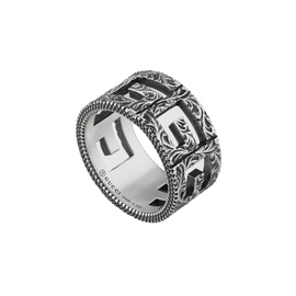 Gucci G Cube Ring in Aged Sterling Silver