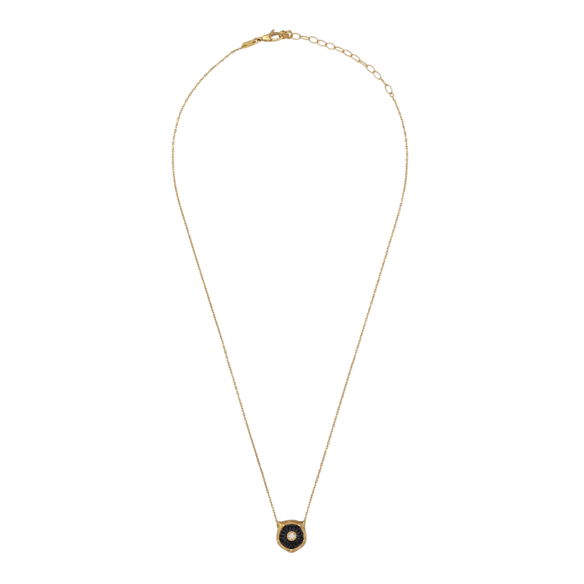 Gucci Le Marché des Merveilles Necklace in 18k Yellow Gold with Onyx and Diamonds - Orsini Jewellers NZ