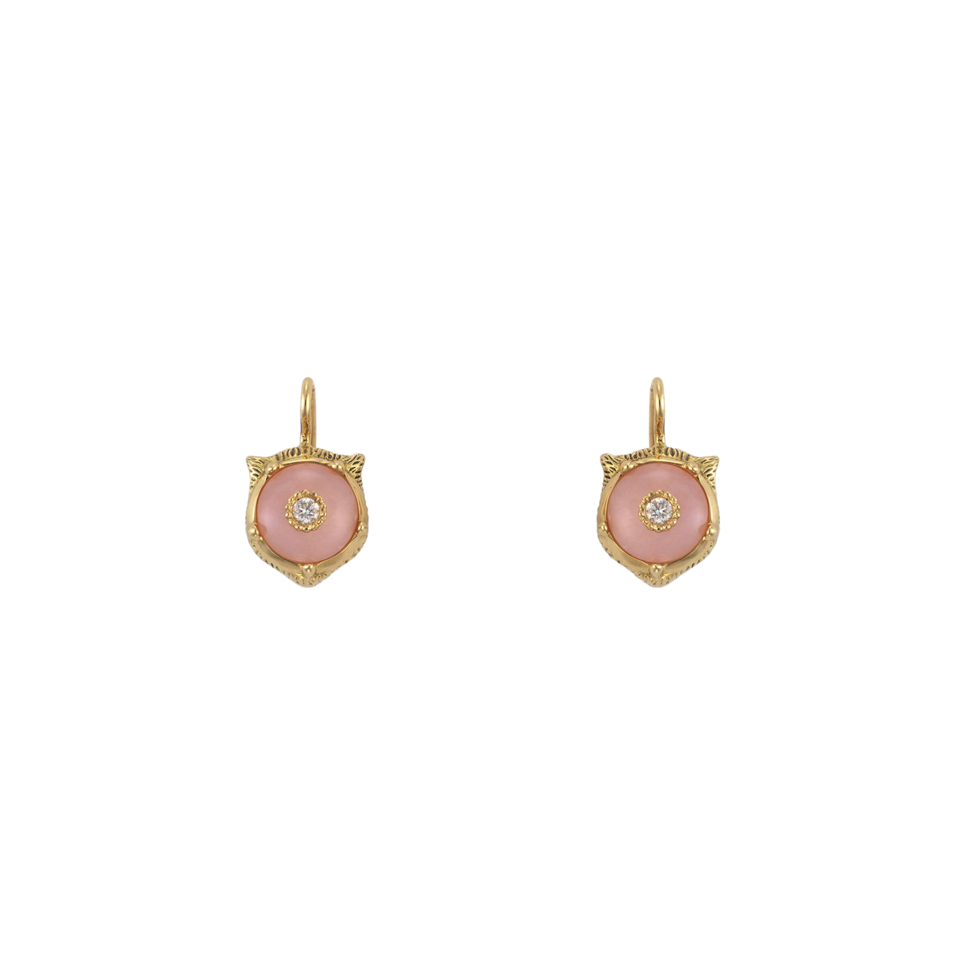 Le Marché des Merveilles Earrings in 18k Yellow Gold with Pink Opal and Diamonds - Orsini Jewellers NZ