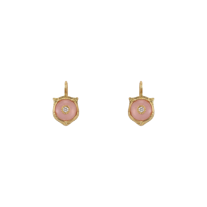 Le Marché des Merveilles Earrings in 18k Yellow Gold with Pink Opal and Diamonds