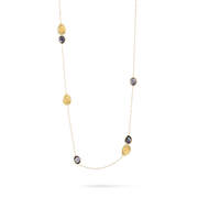 Lunaria Necklace in 18kt Yellow Gold with Grey Mother of Pearl