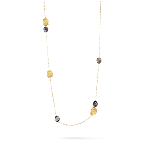 Lunaria 18ct gold necklace with Black Mother of Pearl 100cm