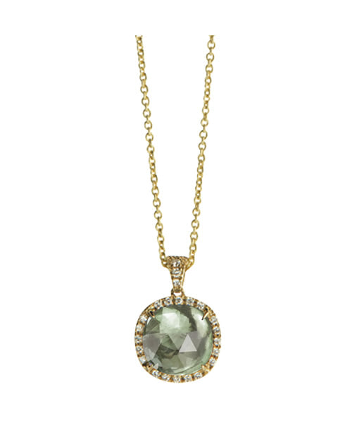 Jaipur Necklace in 18k Yellow Gold with Prasiolite and Diamonds