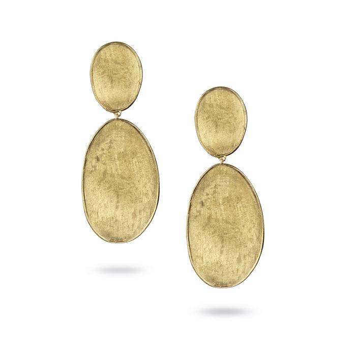 Lunaria Earrings in 18k Yellow Gold Double Drop Size 3