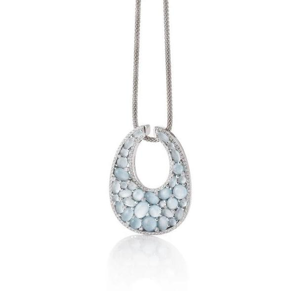Mezzaluna Pendant in 18k White Gold with Sky Blue Topaz and Diamonds