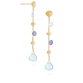 Paradise Earrings Longer Drop in 18k Yellow Gold with Blue Topaz & Iolite