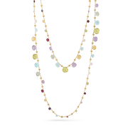 Paradise Necklace with 18K Yellow Gold & Mixed Gemstones Triple Wave Necklace