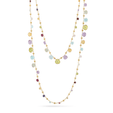 Paradise Necklace in 18k Yellow Gold with Gemstones Triple Wave