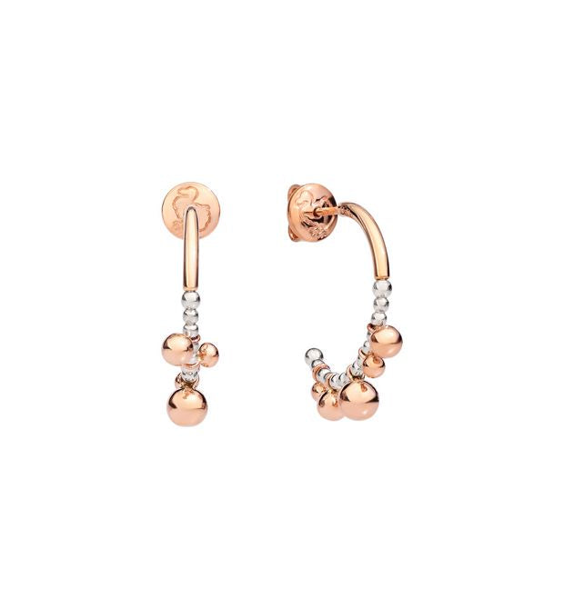 DoDo Bollicine Hoop Earrings in Silver and 9k Rose Gold - small