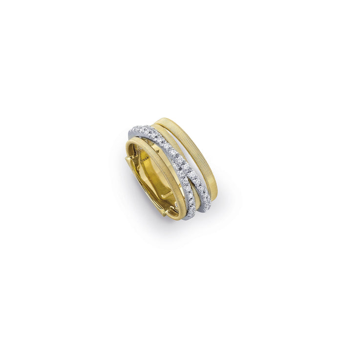Five-Strand-Gold-Two-Strips-Diamond-Ring-Goa-Marco-Bicego-AG315B