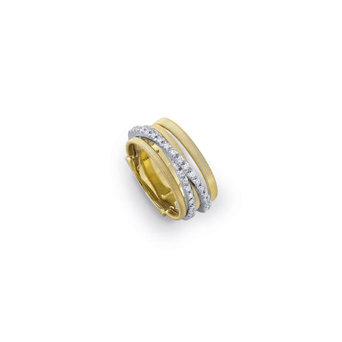 Goa Five Strand 18k Gold Two Strips of Diamond Ring